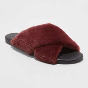 Frannie Crossband Faux Fur Slide Sandal-A New Day™